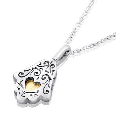 Haari Jewelry Silver and Gold Ethnic Hamsa Necklace Luck and