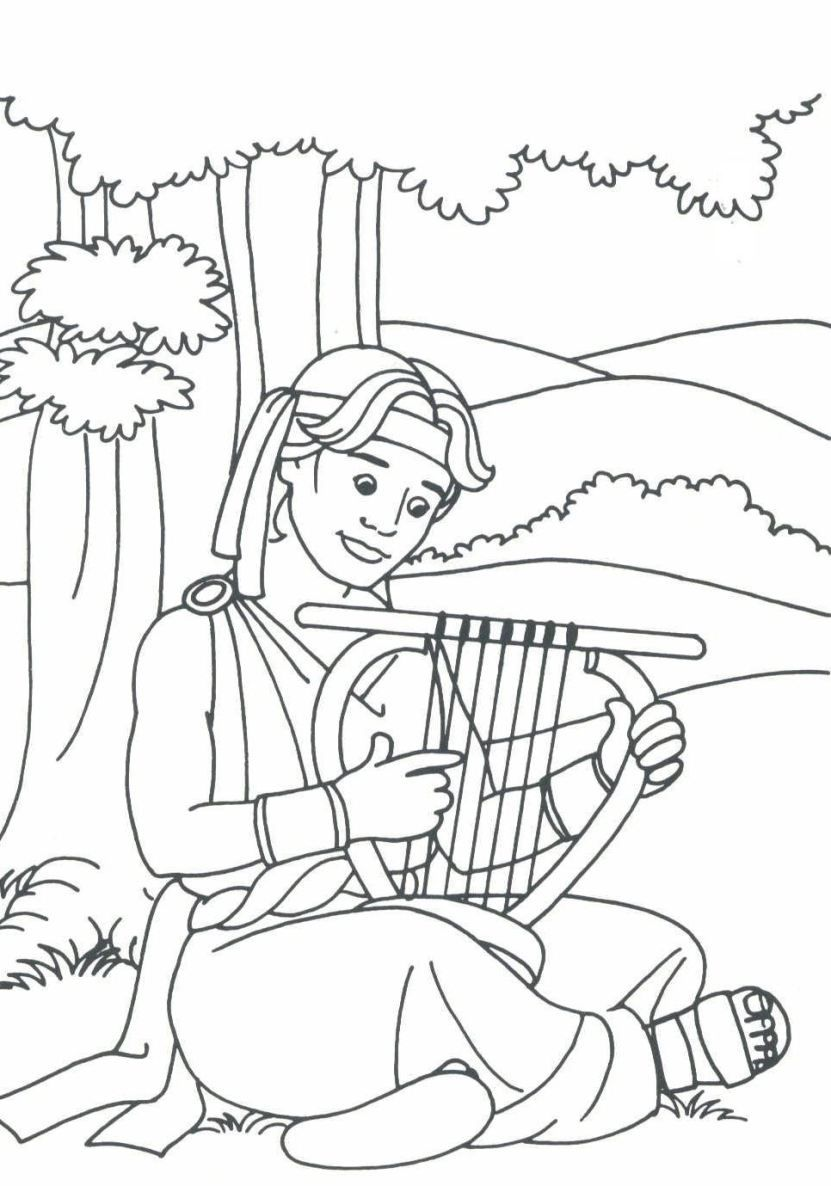 David playing his harp ie I Samuel 1619  Coloring Bible OT
