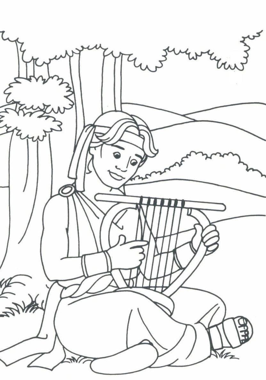 David playing his harp (i.e. I Samuel 16-19)