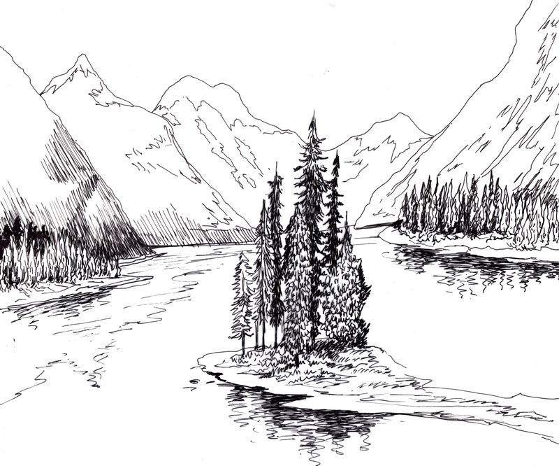 Landscape Drawing Including Trees River Mountain Houses Etc 스케치