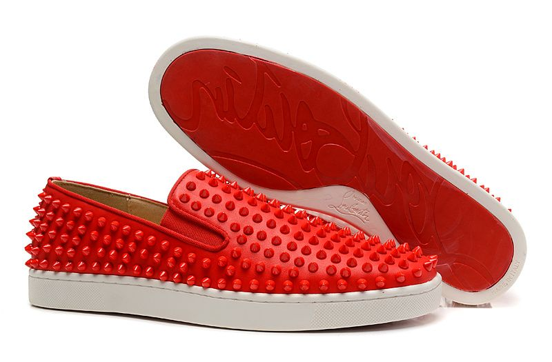 e2a02e15f1a0 Christian Louboutin Roller-Boat Spikes Kid Leather Mens Flat Sneakers Red