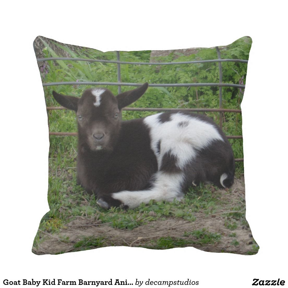 Goat Baby Kid Farm Barnyard Animal Throw Pillow