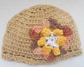 Baby Girl crochet hat with coordinating crochet flower