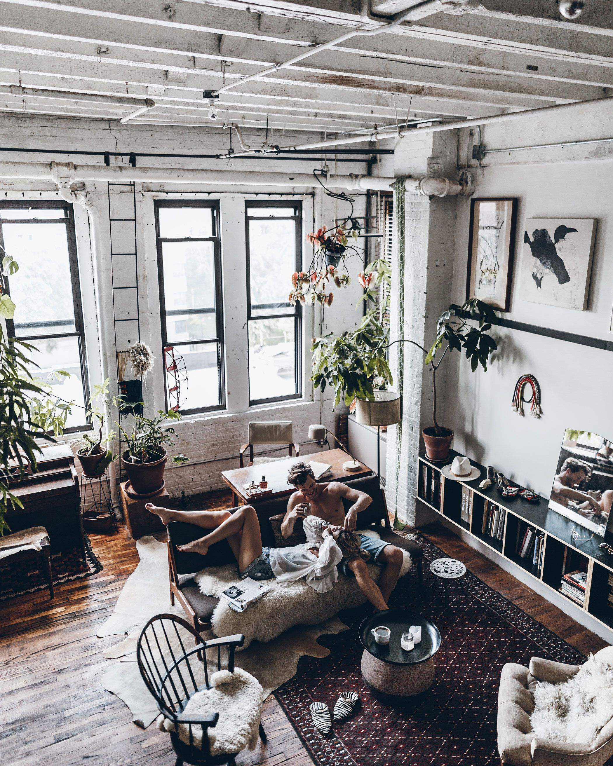 couple in new york loft interior apartment engagement home pinterest. Black Bedroom Furniture Sets. Home Design Ideas