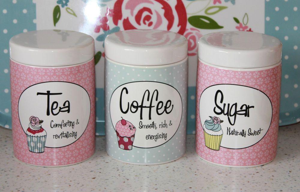 Pink Retro 3 Ceramic Tea Coffee Sugar Jars Canisters Cupcake Blue