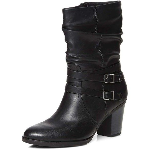 Dorothy Perkins Black Katsi Rouched Calf Boots 71 Liked On Polyvore Featuring Shoes Boots Black Black Boots Buck Boots Calf Boots Black Buckle Boots