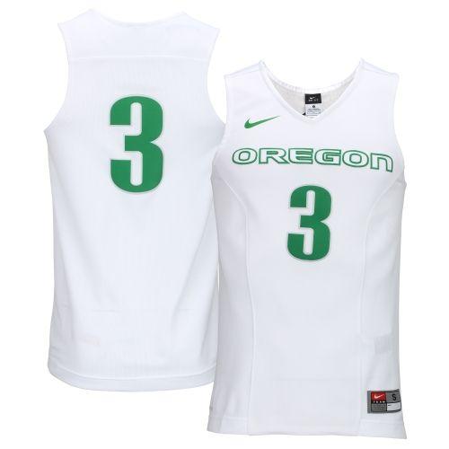 4daaf6dfb181 Mens Nike No. 3 White Oregon Ducks Hyper Elite Authentic Basketball Jersey