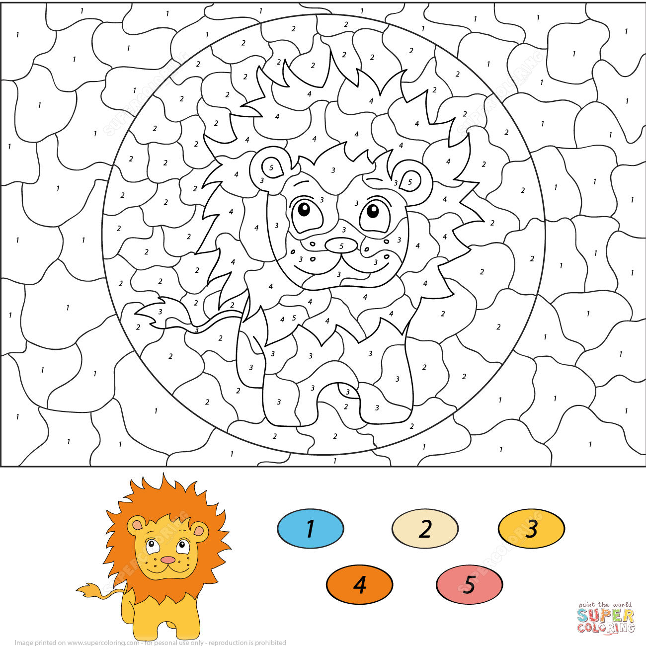 Cartoon Lion Color By Number Coloring Page Png 1300 1300 Cartoon Lion Coloring Pages Cartoon