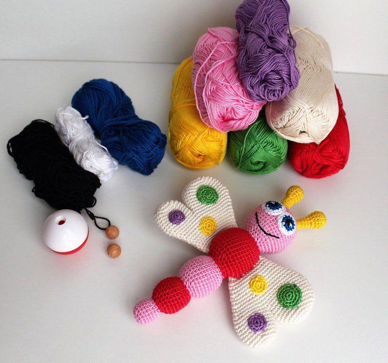 Butterfly baby rattle crochet pattern | Häkeln | Pinterest ...