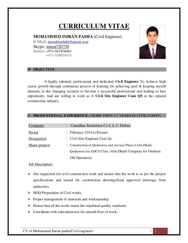 Cv Engineering Cv Of Mohammed Imran Pashacivil Engineer  1 Curriculum Vitae .