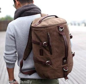 Mens Brown Canvas Shoulders Outdoor Travel Camping Tote Duffle Gym Bag Rucksack In Clothing Shoes Accessories Backpacks
