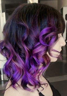 Short Black Hair With Blue Tips Google Search Purple Ombre Hair Curly Purple Hair Purple Balayage
