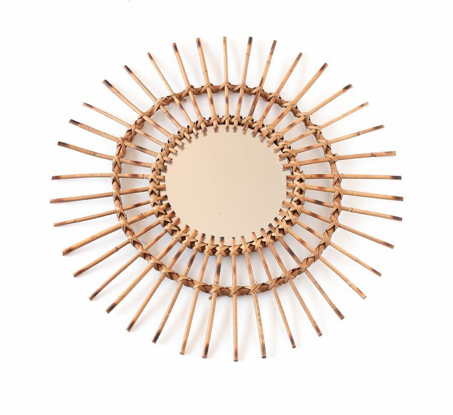 Miroir en rotin de forme soleil vintage leshappyvintage for Miroir forme soleil