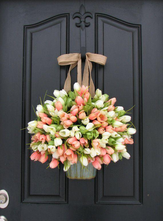 Photo of Tulip bucket for front door, spring tulip wreaths