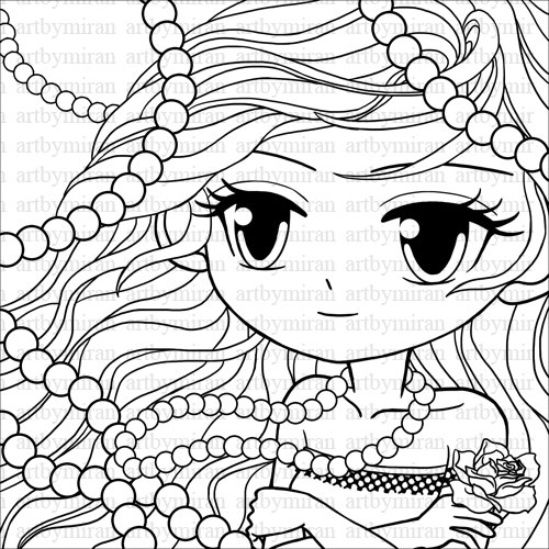 Digi Stamp - Pearl, Big eyed girl Coloring page, Pretty girl Digital ...