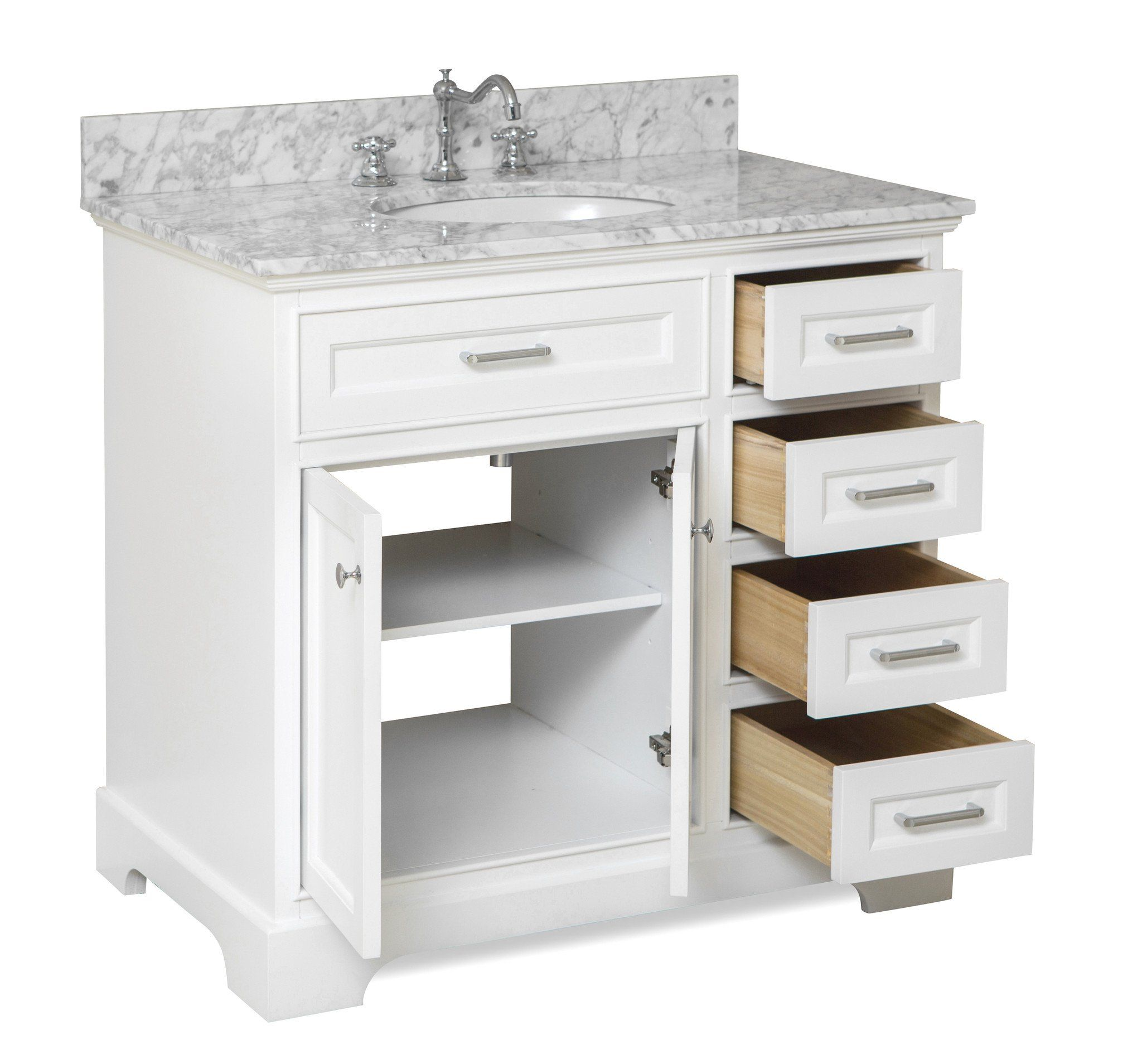 Aria 36 Inch Vanity With Carrara Marble Top Single Bathroom Vanity Bathroom Vanity 36 Inch Vanity