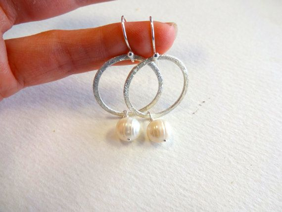 Sterling Silver or Gold Vermeil Brushed Circle Drop Charm Dangle Earrings with Freshwater Pearl Accent on Etsy, $42.00