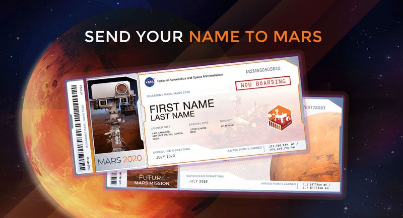 Send Your Name to Mars on a future NASA mission. View and