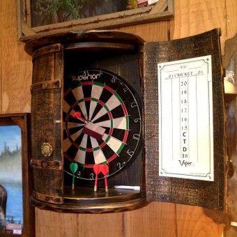 Rustic Whiskey Barrel Dartboard Dart Board Wine Barrel