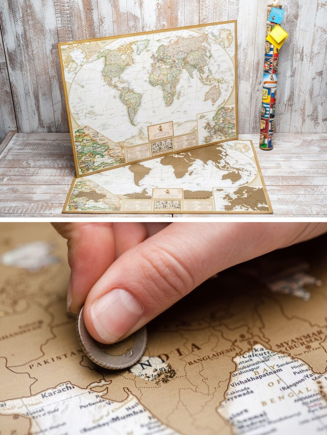 Unique Wedding Gift For Couple Scratch Off Travel Map By TheMapLab - World map to mark your travels
