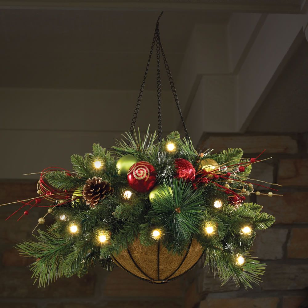 "Hanging Outdoor Lights Without Trees: Cordless Pre-Lit CHRISTMAS HANGING BASKET 24"" Dia. Holiday"