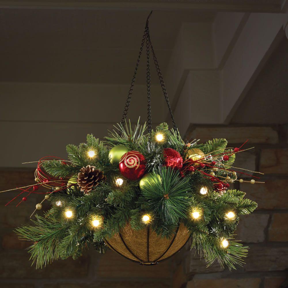 the cordless prelit ornament hanging basket hammacher schlemmer christmas porch outdoor christmas - Christmas Hanging Baskets
