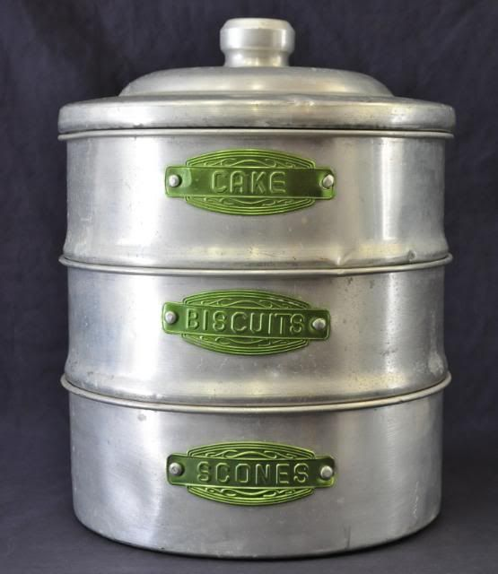 Aluminum Stackable Kitchen Canisters With Green Labels... From Australia.