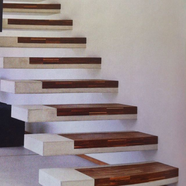 Floating Concrete Treads With Timber Inlay Amazing Scale Case   Concrete And Wood Stairs   Concrete Wall   Separated   Concrete Building Interior   Glass Balustrade   White Riser Wood