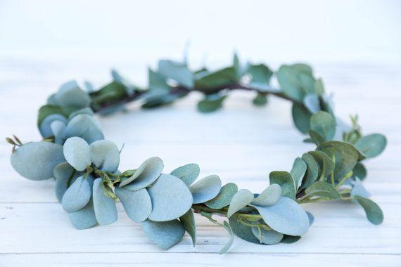 Verde salvia fiore archetto corona, corona di fiori di eucalipto, archetto, Fascia di nozze, fiore fascia, ragazza di fiore di boho, corona floreale boho #crownheadband