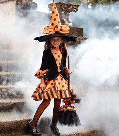 la-dee-dots witch costume - no covens and cauldrons for your witch -- it's a stylish outfit and a night on the town! your dress features an attached high collar, velvet bodice with big orange button, and flared satin skirt with polka dots and stripes. the whimsical hat and accessories will make you the talk of the coven.