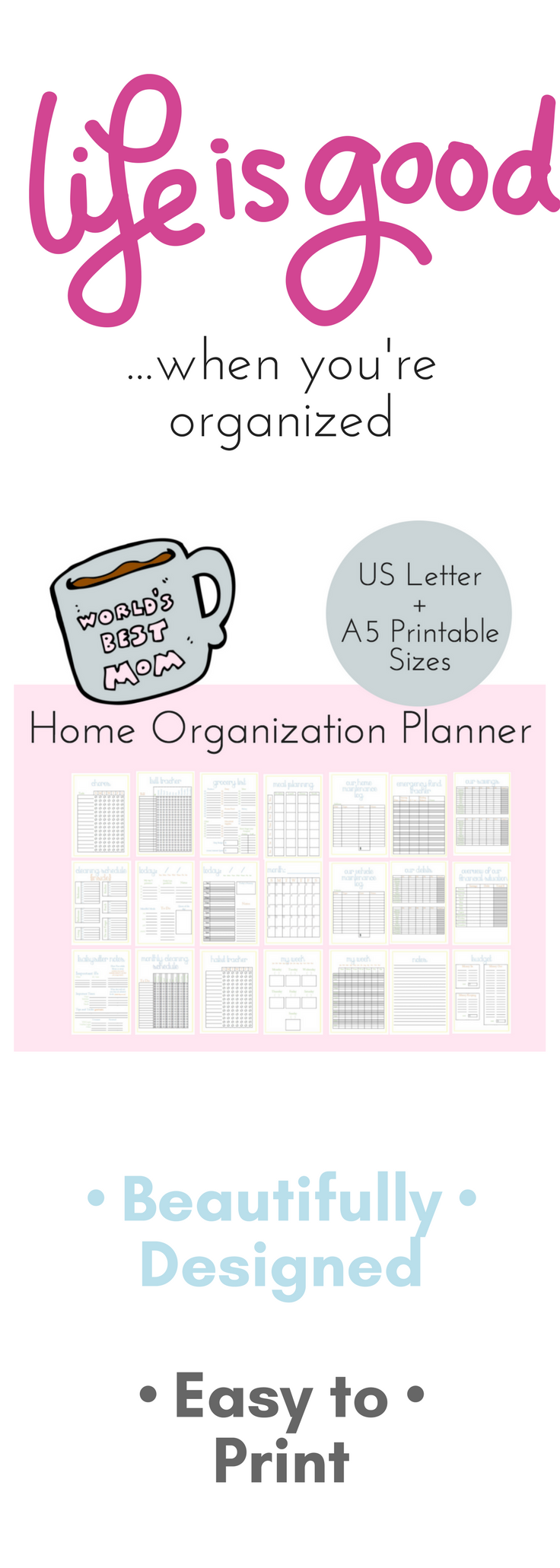 mom planner household binder printable family binder home
