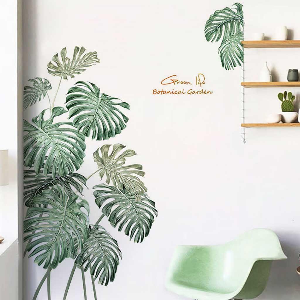 Diy beach tropical palm leaves wall stickers modern art