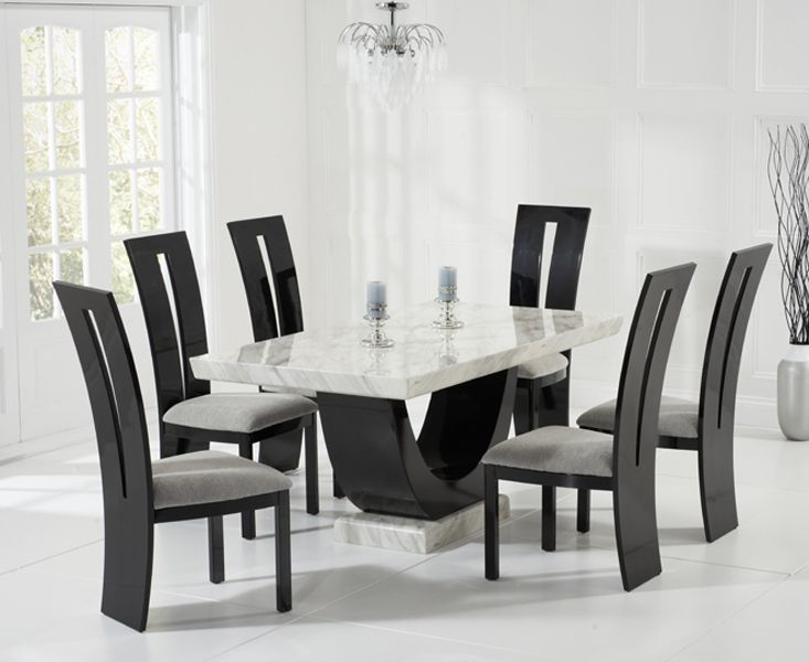 Raphael Cream and Black Pedestal Marble Dining Table with Raphael Chairs - Marble - Dining Sets - Oak Dining Room Furniture : black marble dining table set - pezcame.com