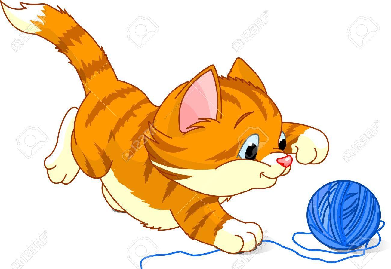 Kitten With Yarn Clipart Kitten Images Kittens Playing Kitten Cartoon