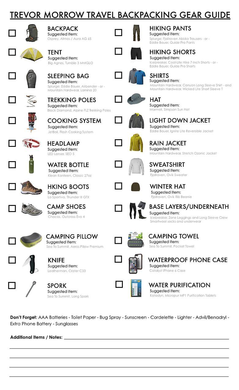 Best backpacking gear list pct pinterest backpacking gear