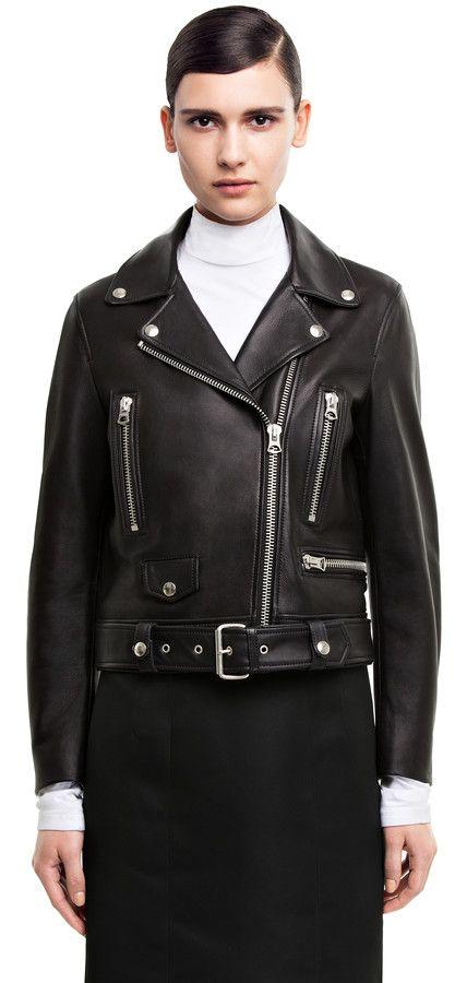 Acne Studios Mock Black Leather Jacket Style Black Leather Biker Jacket Acne Leather Jacket