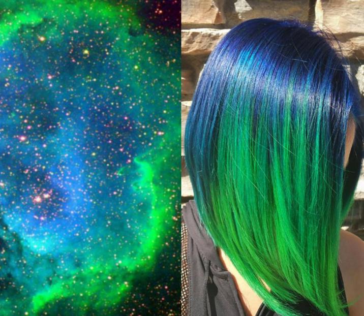 I galaxy hair sono una variante specializzata sui colori della galassia dei capelli arcobaleno. Naturalmente le combinazioni possono variare: dal rosso al verde passando per il viola. Leggi anche: Galaxy hair: il nuovo trend su Instagram per capelli colorati come una galassia