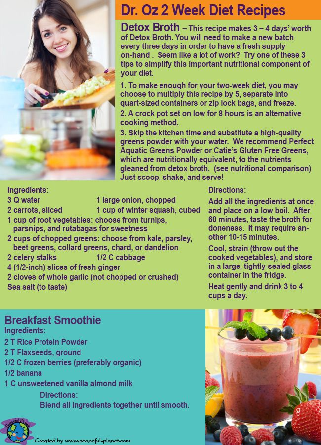 Dr Oz Two Week Rapid Weight Loss Diet Part 2 Recipes And Shopping