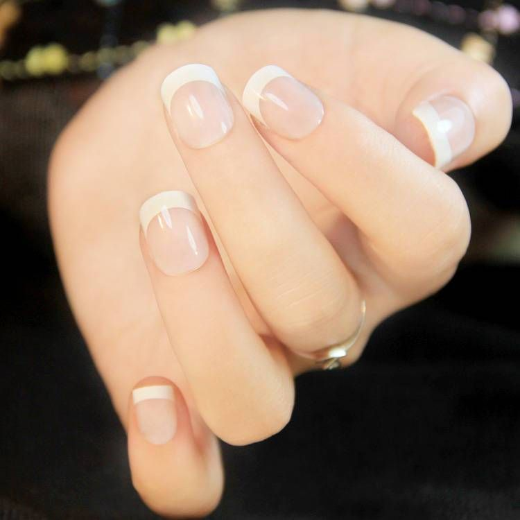 24 Pcs French Tip Design Plastic Acrylic Nails French Tip Acrylic Nails Luxury Nails French Tip Nails