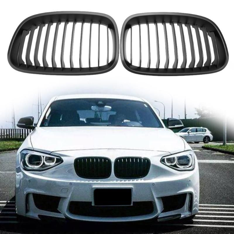 1pair Car Front Kidney Grill Grilles Matte Black Replacement For
