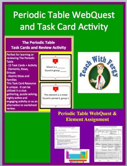 Periodic Table Activity Bundle-Task Card Activity, WebQuest - new periodic table assignment