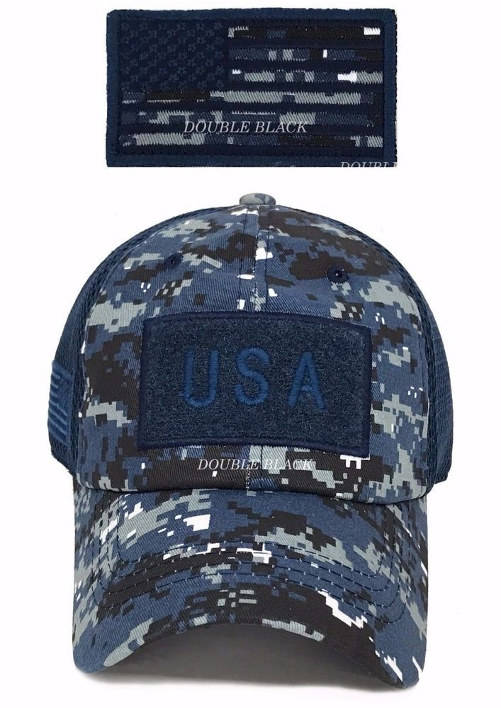 best service fc4b8 ab9f1 USA American Flag Tactical Operator Hat Military Mesh Cap Navy Blue Digital  Camo  Clover  BaseballCap