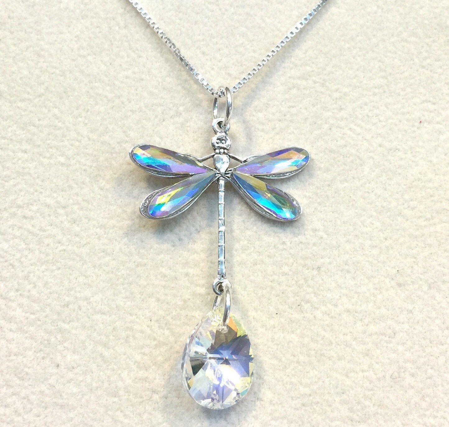 DIY jewelry, making Dragonfly pendant using Swarowski crystals