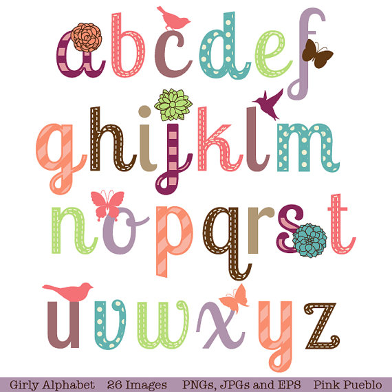 Girly Alphabet Scrapbook Aphabet Font With Birds By PinkPueblo