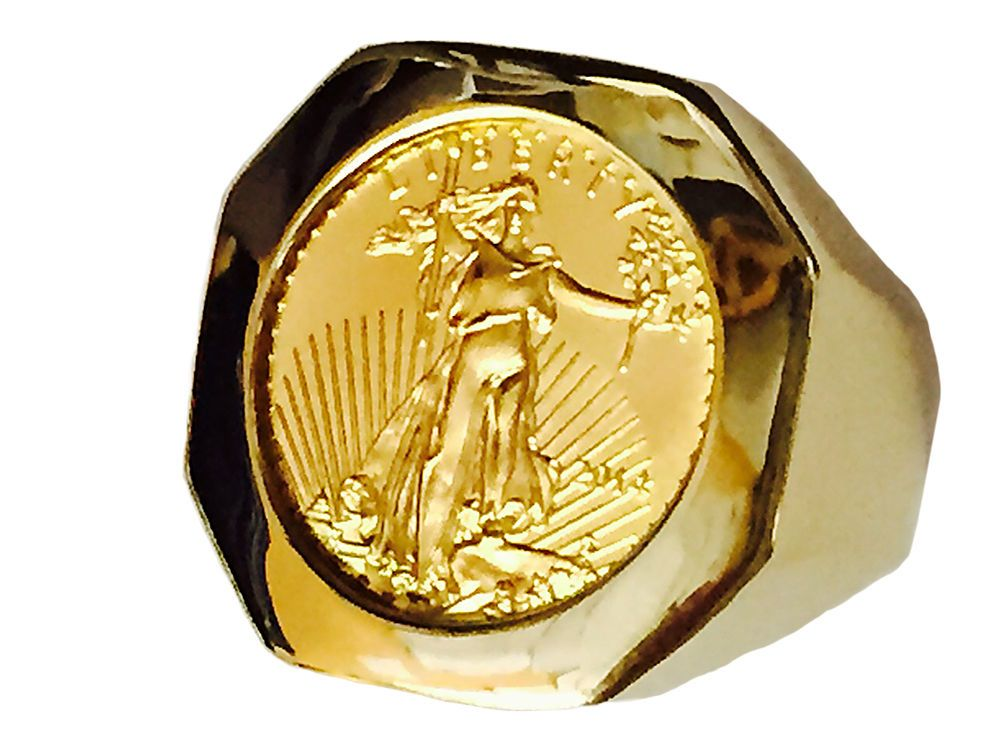 14k Yellow Gold Mens Coin Ring With A 22k 1 10 Oz American Eagle Coin Mens Gold Rings Coin Ring Mens Fashion Jewelry