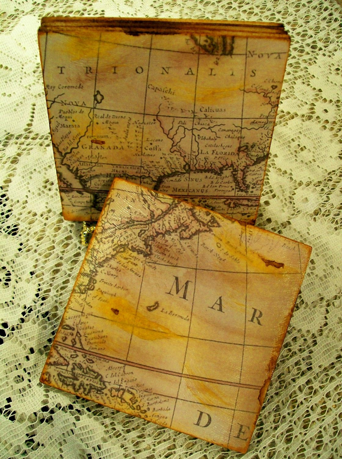 Map coasters old world map gold stained and antiqued map set of 4 map coasters old world map gold stained and antiqued map set of 4 teachers historians map gumiabroncs Choice Image