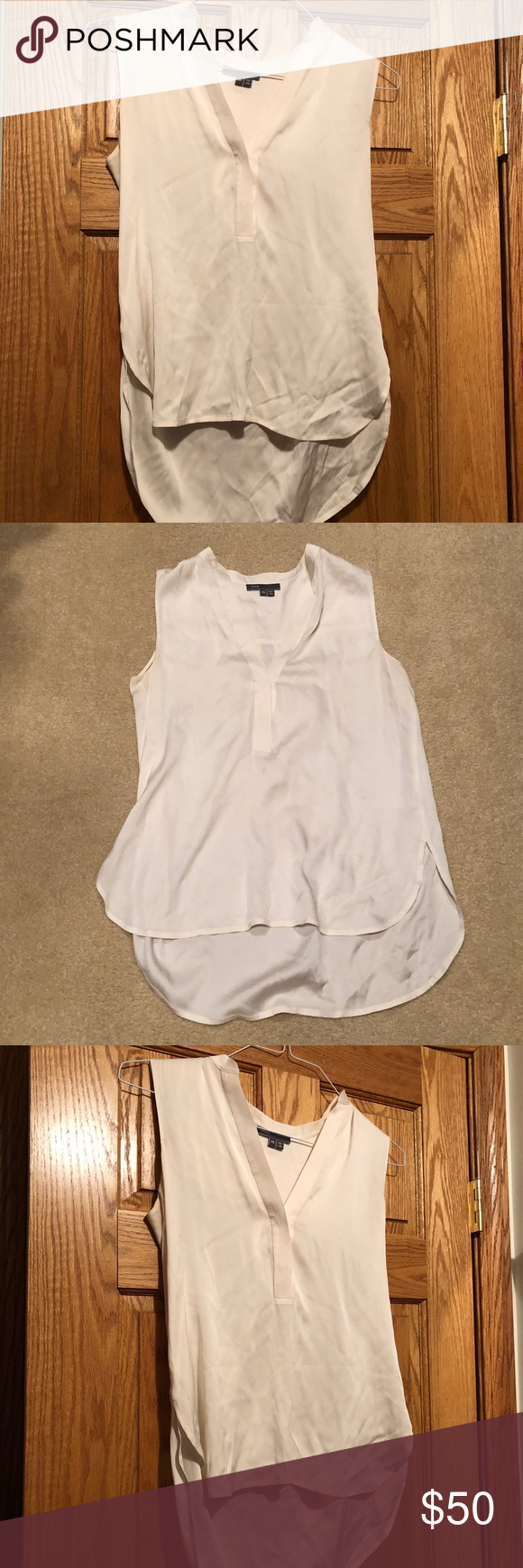 Vince White Silk Sleeveless Blouse Great condition!  High low blouse. Vince Tops Blouses #myposhpicks