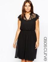 size 14 dress-asos curve asos curve exclusive victoriana lace skater dress black