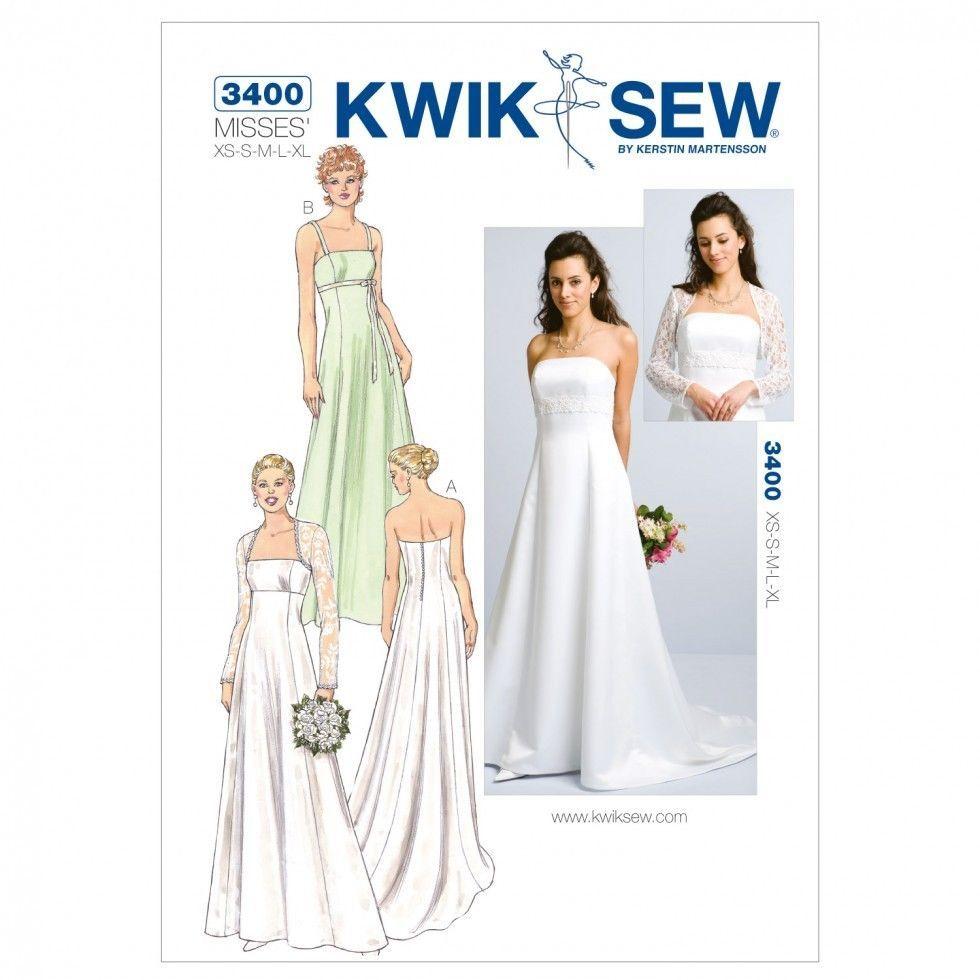 Kwik Sew Ladies Sewing Pattern 3400 Wedding Dress & Bolero (KwikSew ...
