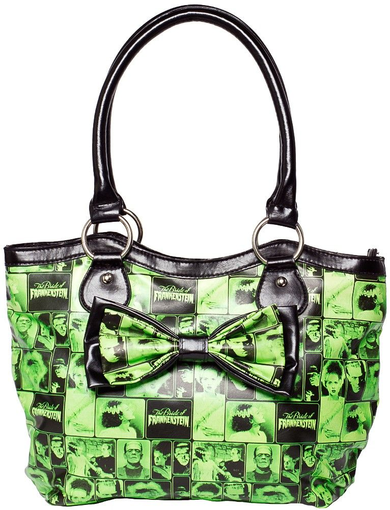 ROCK REBEL BRIDE OF FRANKENSTEIN BAGYour favorite monster pair is together on this ghoulish & ghastly purse from Rock Rebel! This green & black matte vinyl purse features a collage of Frankenstein & his lovely Bride as an all over pattern, large decorative bow, zip top & black nylon lining. $46.00